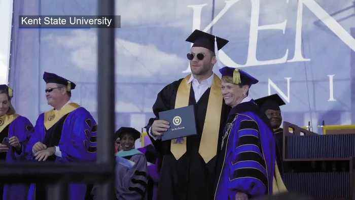 New England Patriots wide receiver Julian Edelman has graduated from Kent State