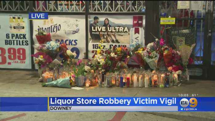 Touching Memorial Continues To Grow Outside Downey Liquor Store Where Co-Owner Was Gunned Down