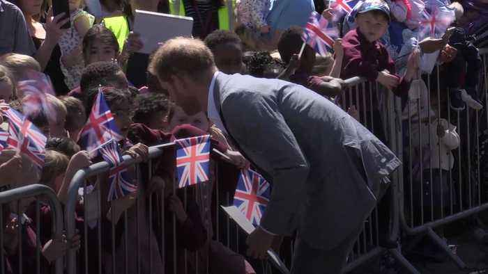 New dad Harry charms young fans in Oxford