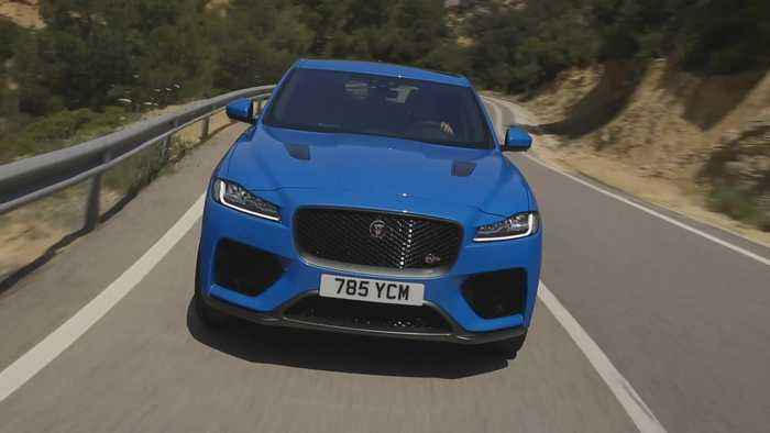The Jaguar F-PACE SVR 550PS AWD Ultra Blue Driving in Southern France