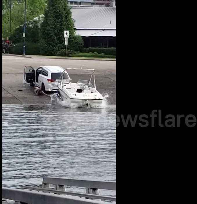 Canada man nearly ran over by his own truck as it plunges into river