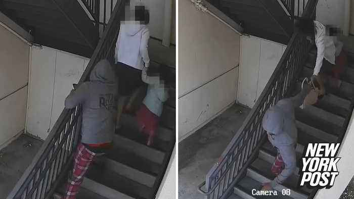 Purse snatcher viciously yanks mom and daughter down stairs