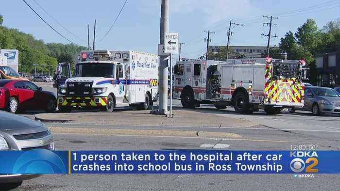 Car Collides With School Bus On McKnight Road