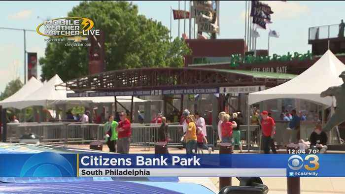 Mobile Weather Watcher Tracking Sunny Day For Phillies Game