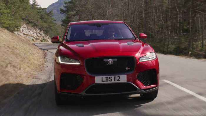 Jaguar F-PACE SVR 550PS AWD Firenze Red Driving in Southern France