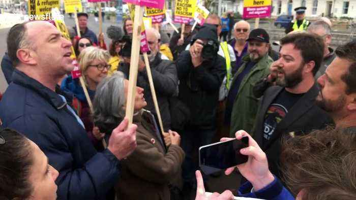 Angry protesters scold UKIP candidate over Jess Phillips rape 'joke' in Weymouth