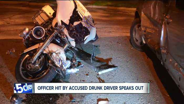 'It could've been a lot worse': Akron motorcycle officer hit by alleged drunk driver speaks publicly for first ti