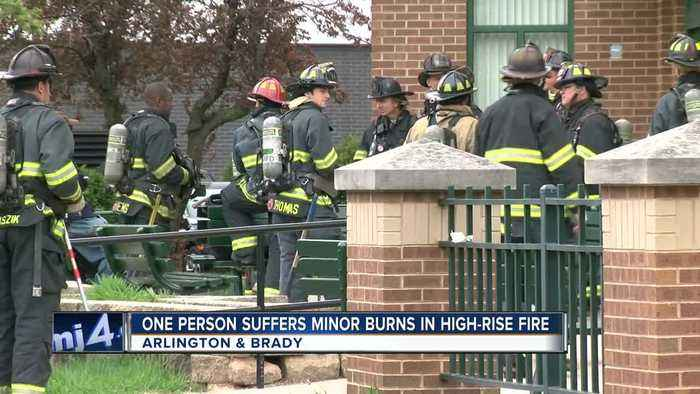 One occupant transported for burns after fire near Arlington and Brady