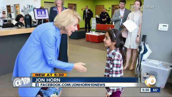 Betsy DeVos makes unscheduled visit to Poway Unified school