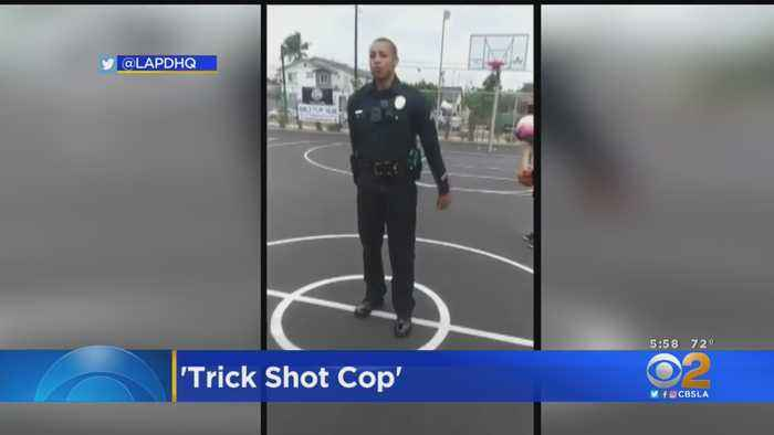 LAPD Officer Makes Trick Basketball Shot Look Easy