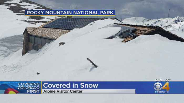 Snow Comes To Rooftop Of Alpine Visitor Center