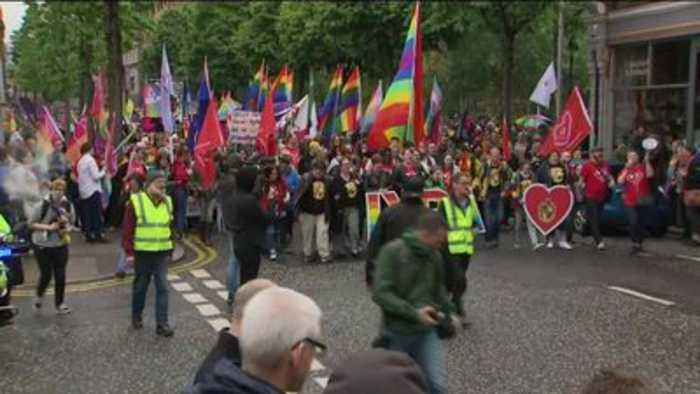 Protesters in Belfast demand the legalisation of same sex marriage