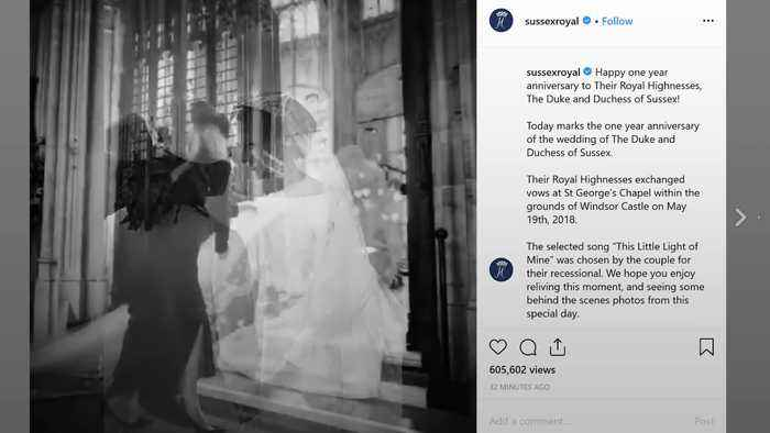 Harry and Meghan celebrate first wedding anniversary with photo montage