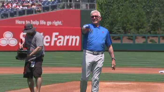 Phillie Legend Mike Schmidt Throw First Pitch For Melanoma Awareness Day