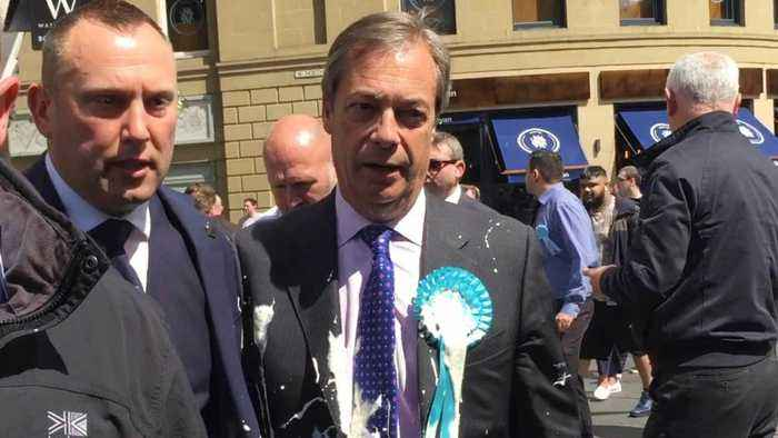 Nigel Farage Hit By Milkshake On Brexit Party Campaign Trail
