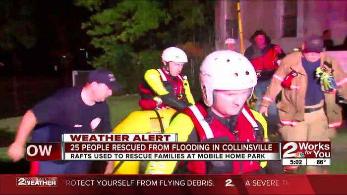 Water rescue at flooded trailer park in Collinsville