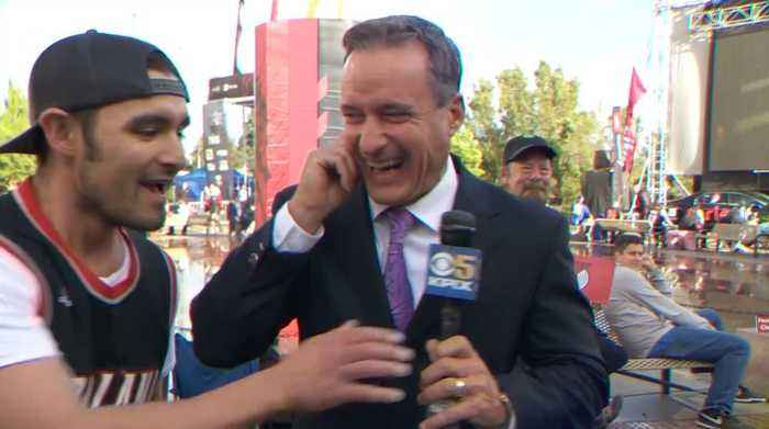 Raw Video: KPIX 5 Sports Director Dennis O'Donnell Torches Trail Blazer Fan's Hot Take On Warriors Series