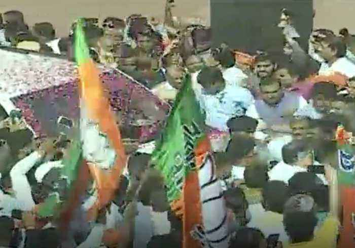 BJP Supporters Rally at New Delhi Headquarters After Projected Landslide Victory