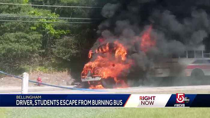 Driver, students escape burning school bus