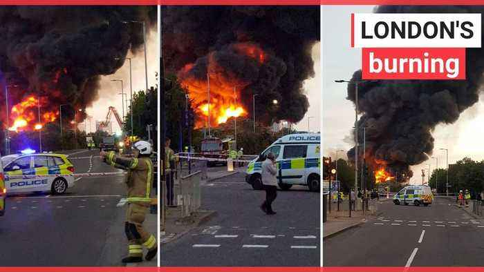 A fire has ripped through a warehouse in North London