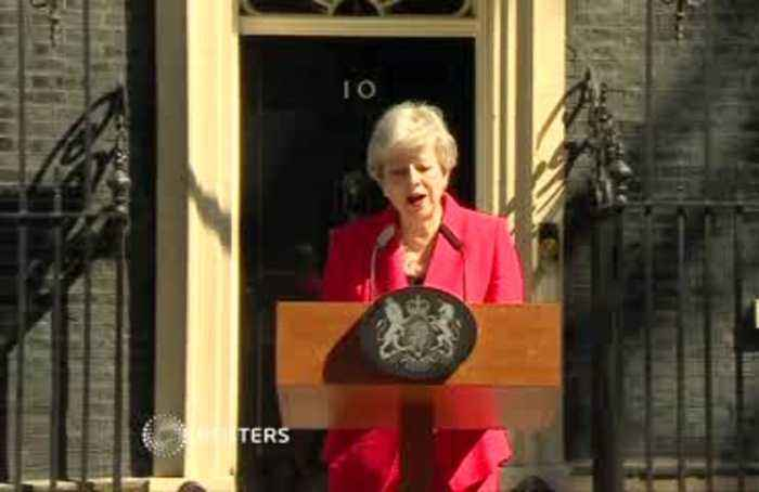 Britain's May breaks down during resignation speech