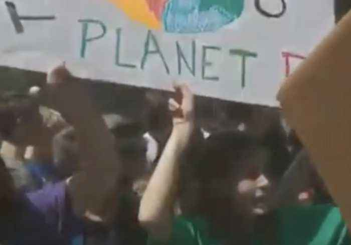 Climate Change Protesters Gather at Columbus Circle