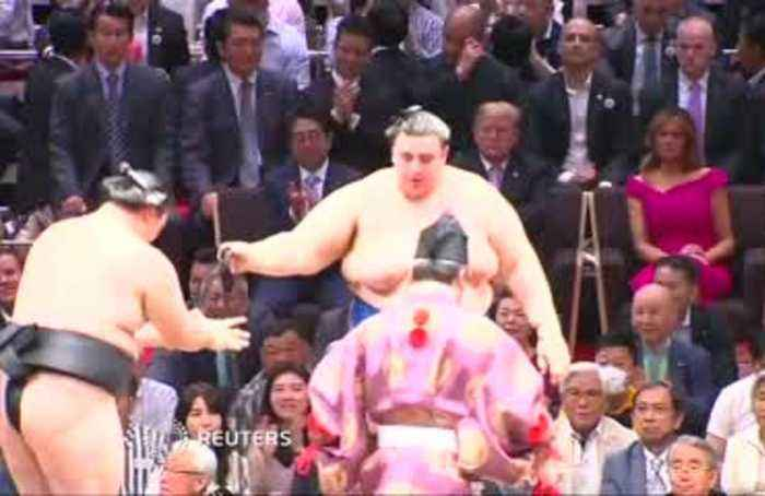 Trade talks aside, Trump and Abe bond over sumo