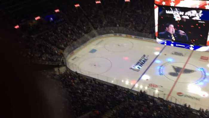 St. Louis Blues Fans Sing National Anthem When Game Feed Goes Out at Stanley Cup Watch Party