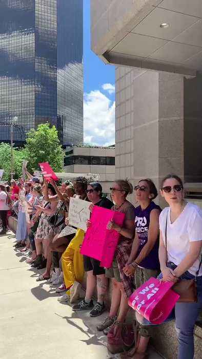 Planned Parenthood Activists Line Street in St Louis, Missouri, to Protest Abortion Ban