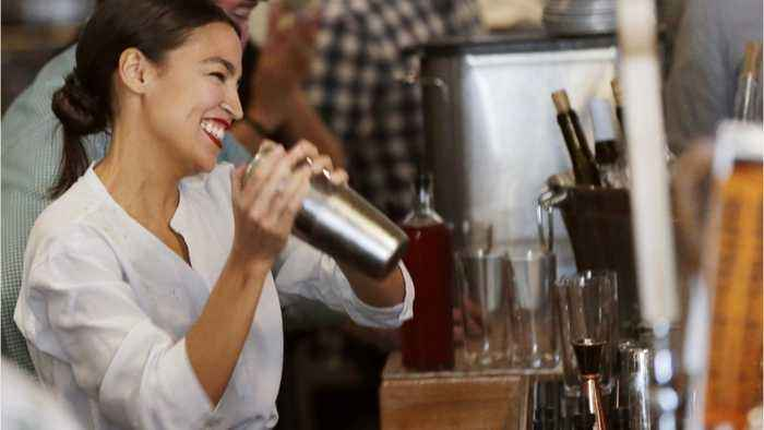 Ocasio-Cortez bartends promoting fair wages