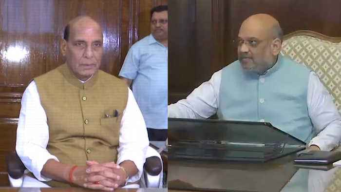 Amit Shah takes charge as Home Minister, Rajnath Singh as Defence minister