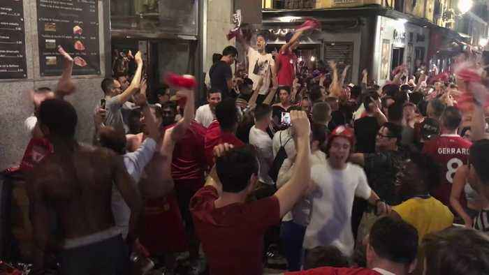 Liverpool fans go wild on the streets of Madrid after Champions League victory