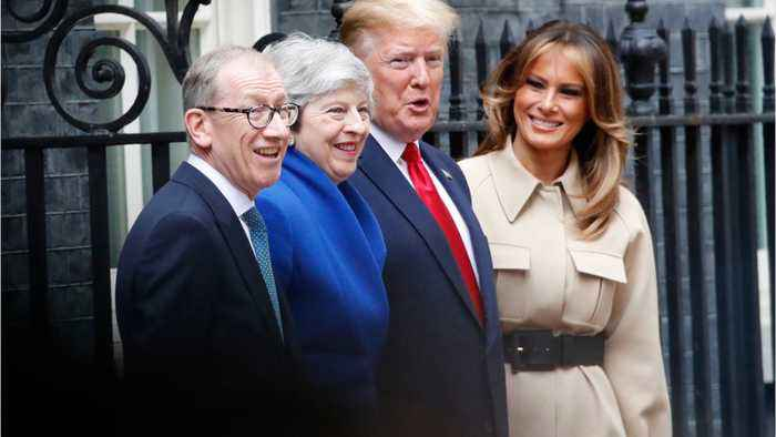 Trump talks with Theresa May in downing street