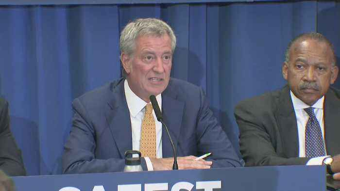Mayor De Blasio, NYPD Officials Monthly Crime Statistics Meeting