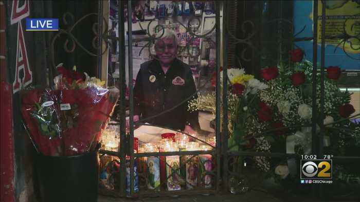 Mourners Gather At Francisco Aranda's Store After He Was Found Dead In His Crete Home