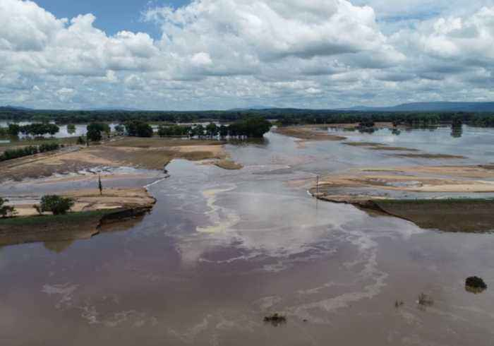 Drone Video Shows Aftermath of Levee Breach Along Arkansas River
