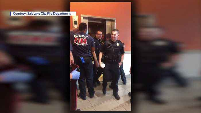 Video of Salt Lake City Firefighters Rescuing Police Employees Trapped in Elevator Goes Viral