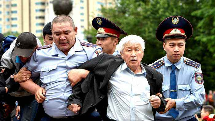 Kazakhstan police and protesters clash after election results
