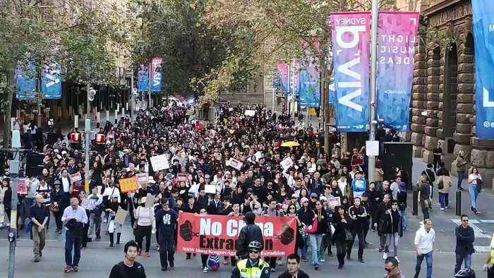 Rally Moves Through Sydney's Central Business District to Protest Hong Kong Extradition Bill