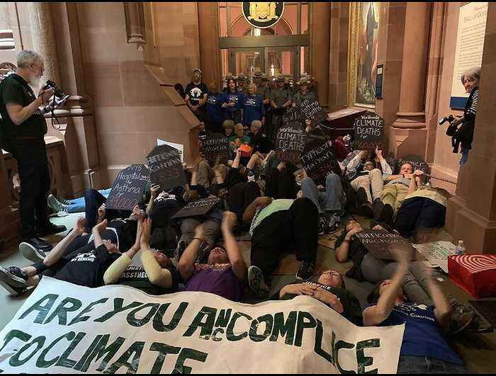 Demonstrators Block Entrance to Governor Cuomo's Office to Demand Support for Climate Act