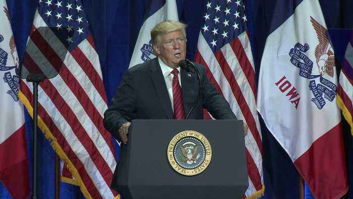 Supporters, Protestors Show Up for President Trump`s Visit to Iowa