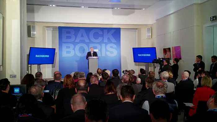 Boris Johnson heckled during launch of his Conservative leadership bid
