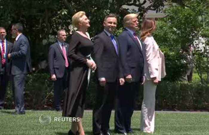 Trump shows off F-35 fighter to Poland's Duda
