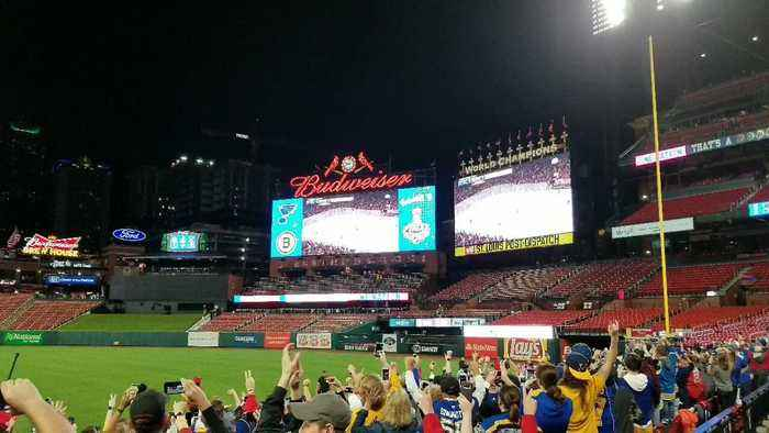 St. Louis Blues Fans Celebrate at Busch Stadium Following Stanley Cup Win