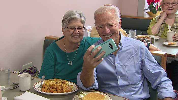 Former Vice President Joe Biden Surprises Voters at Iowa Cafe