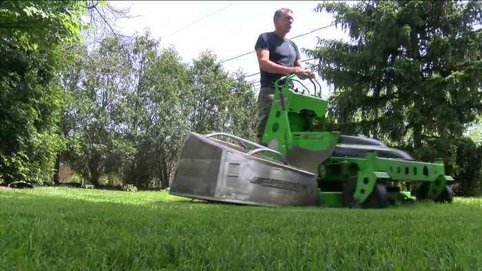 His environmentally friendly lawn service called The GreenerWe is all electric