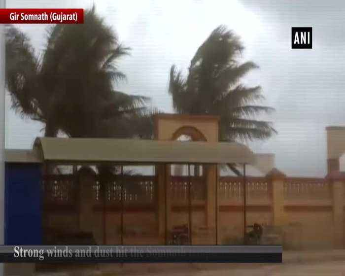 Strong winds and dust hit Somnath temple ahead of Cyclone Vayu