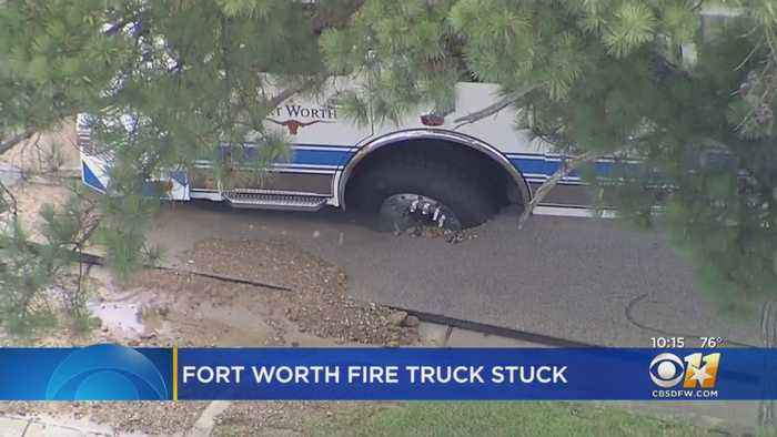 Fort Worth Fire Engine Gets Stuck When Road Buckles