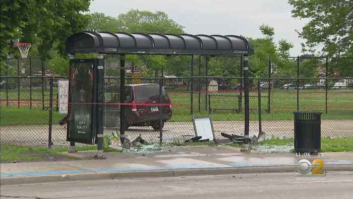 5 Injured When Car Smashes Into Bus Stop After Crash In Calumet Heights
