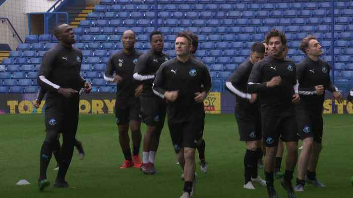 Usain Bolt trains at Stamford Bridge for Soccer Aid